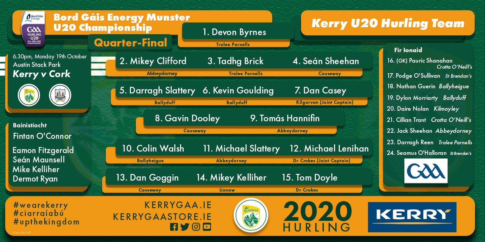 Team Announcement: Kerry U-20 vs Cork