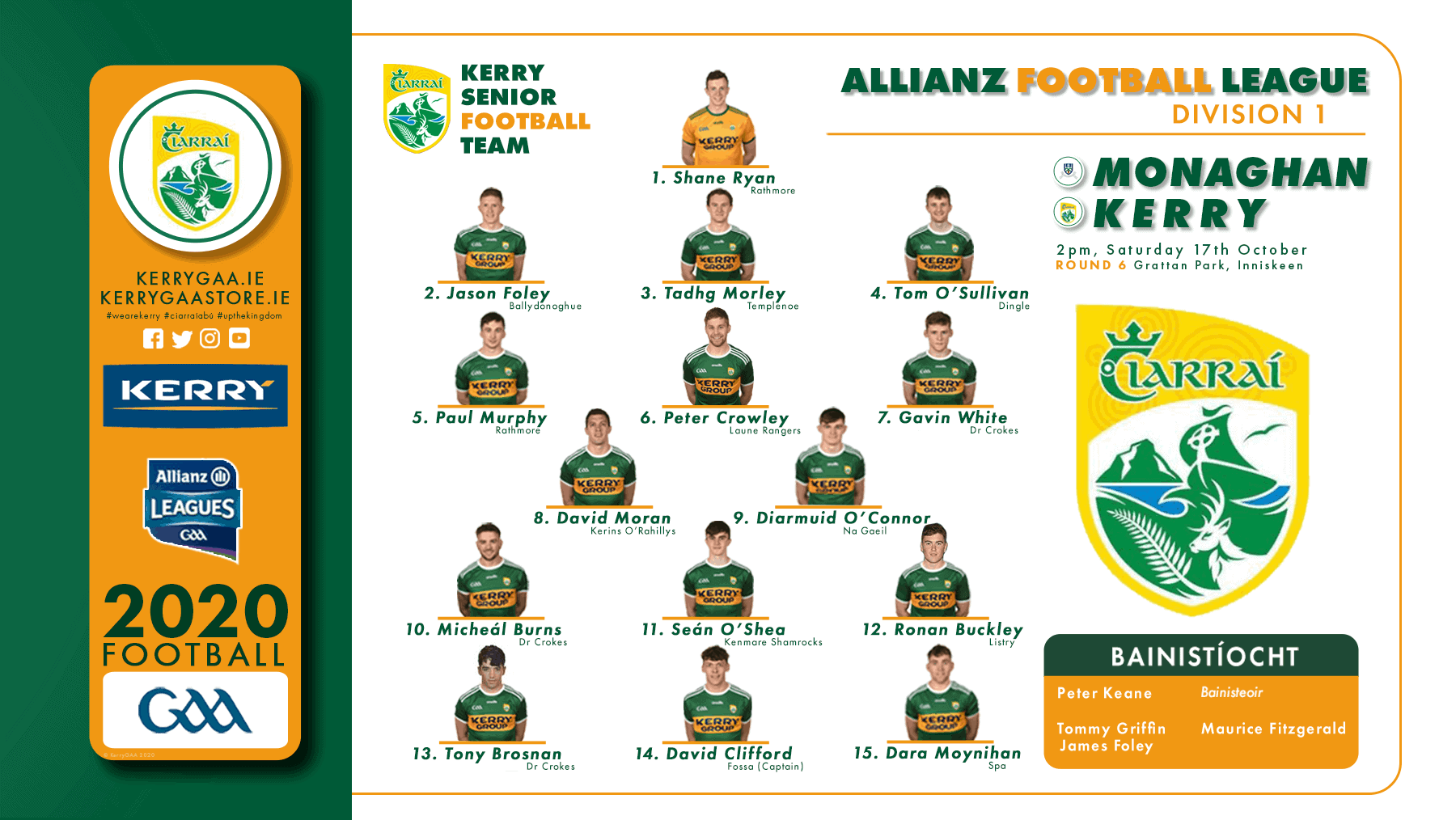 Team Announcement: Kerry vs Monaghan