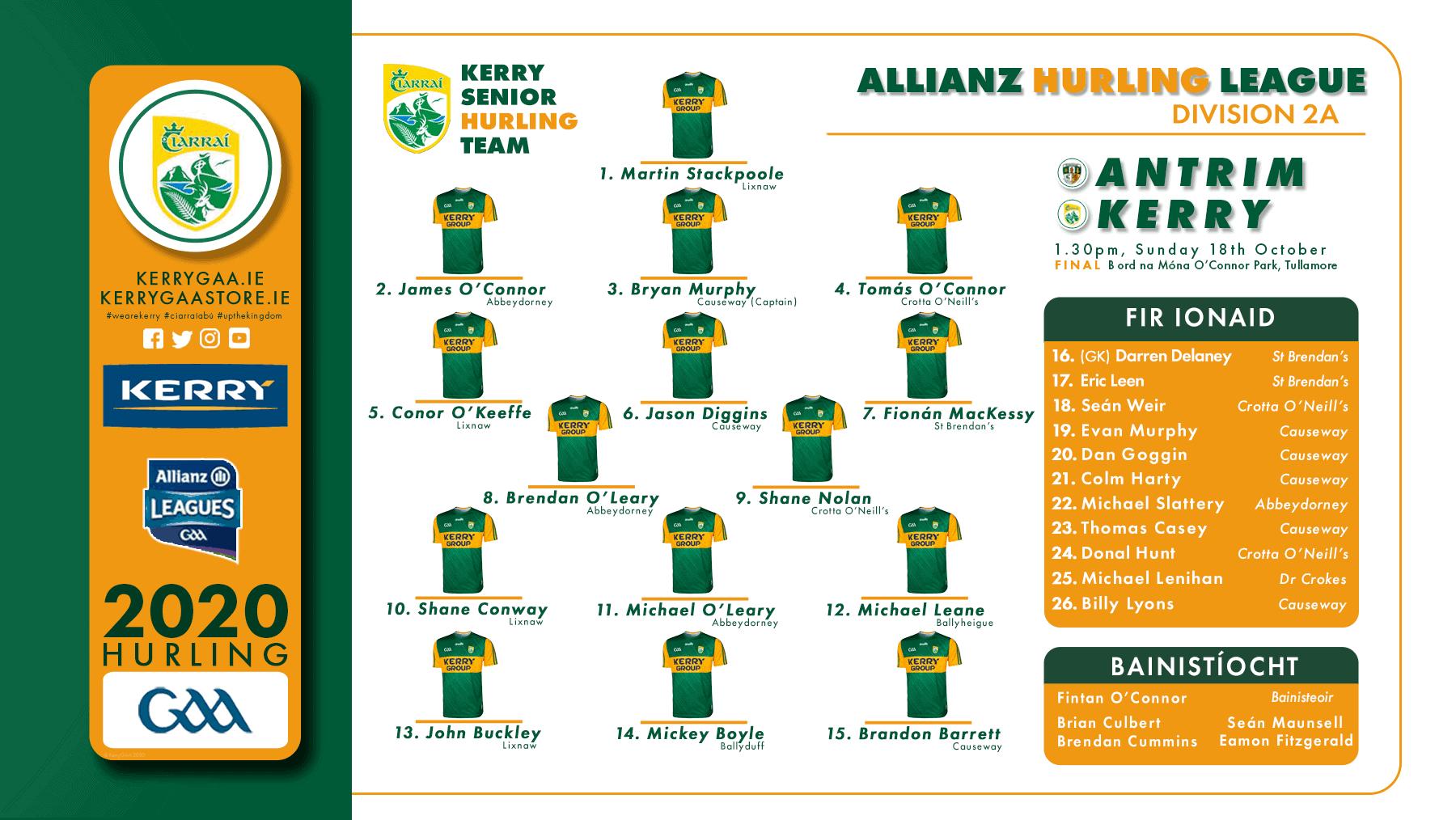 Team Announcement: Kerry vs Antrim