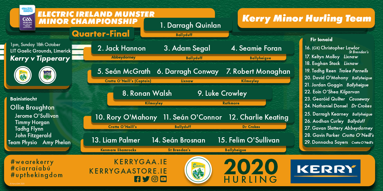 Team Announcement: Kerry Minors vs Tipperary