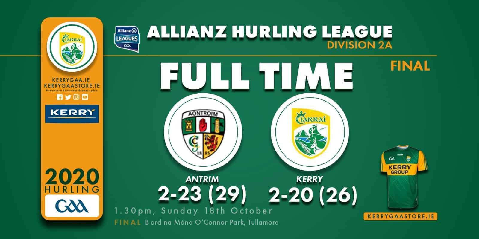 No Joy for Kerry Hurlers as Antrim win Div.2A