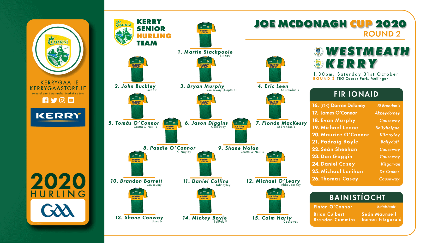 Team Announcement: Kerry vs Westmeath