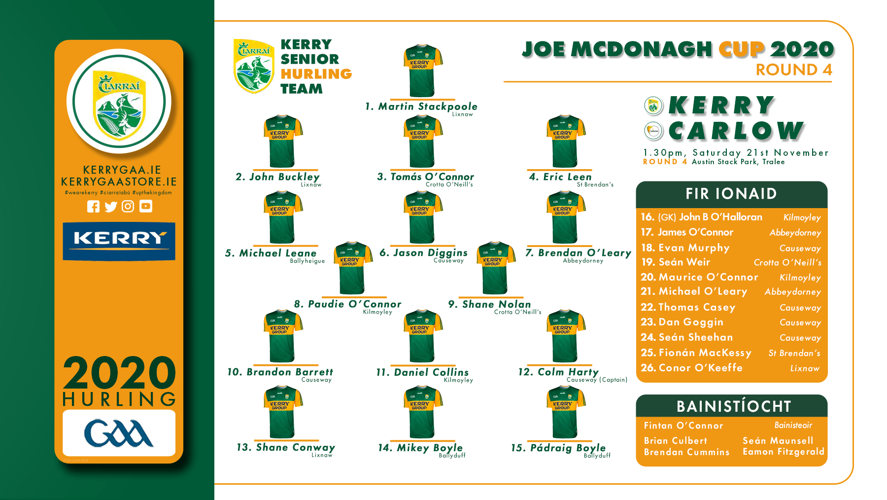 Team Announcement: Kerry vs Carlow