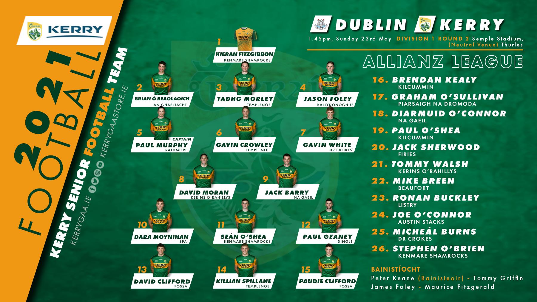 Team Announcement: Kerry vs Dublin – AFL