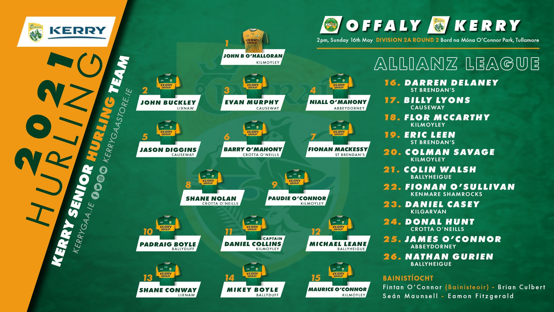 Team Announcement: Kerry vs Offaly
