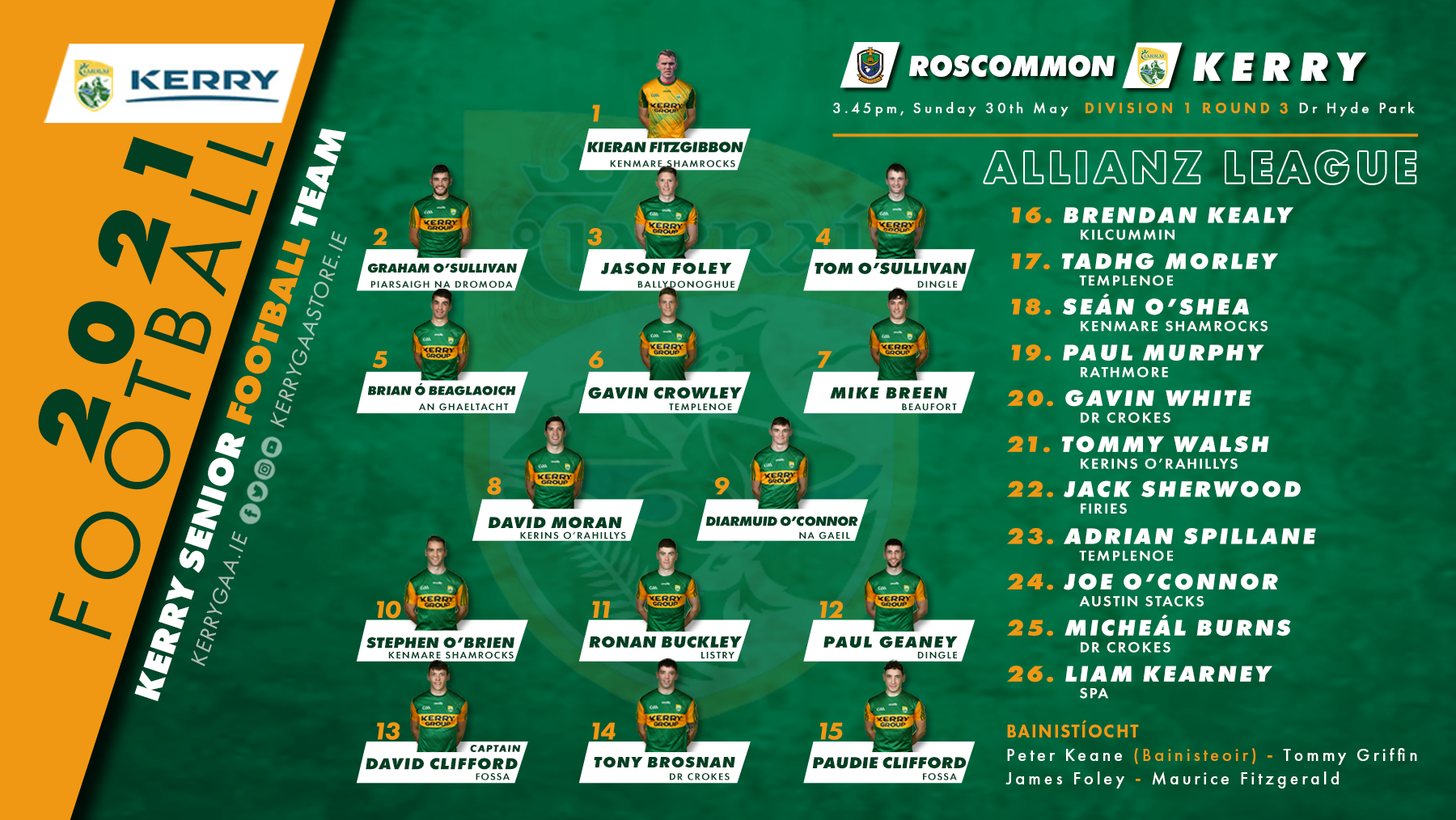 Team Announcement: Kerry vs Roscommon