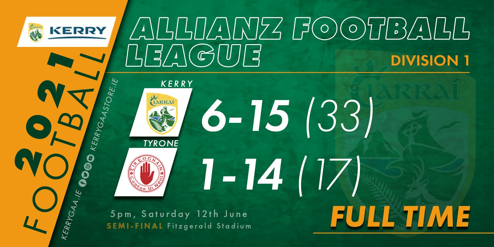Victory for Kerry in the AFL, Division 1 Semi-Final