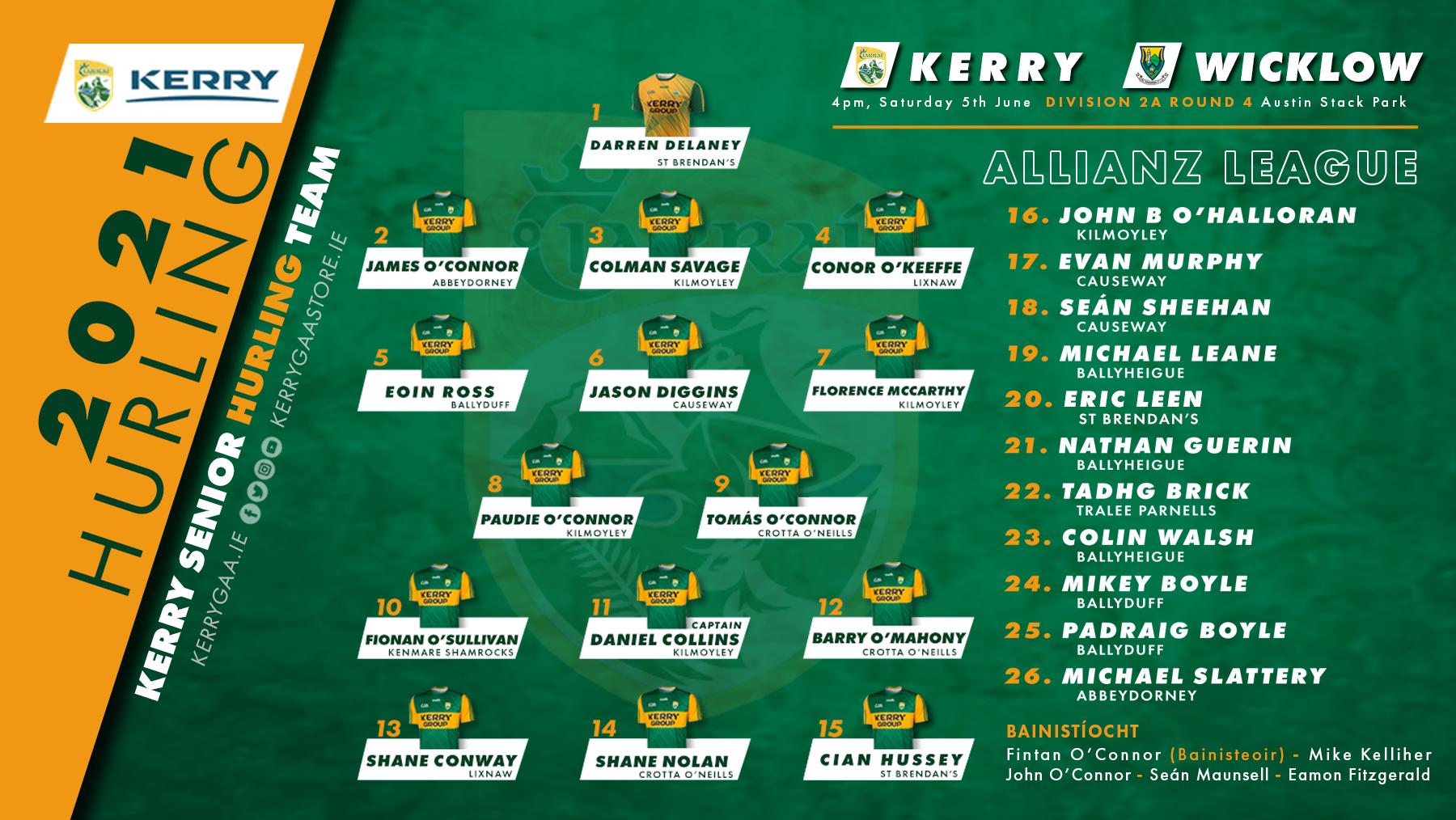 Team Announcement: Kerry vs Wicklow – Allianz Hurling League, Roinn 2A