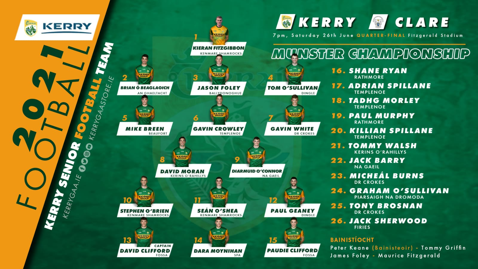 Team Announcement: Kerry vs Clare, Munster SFC Quarter-Final