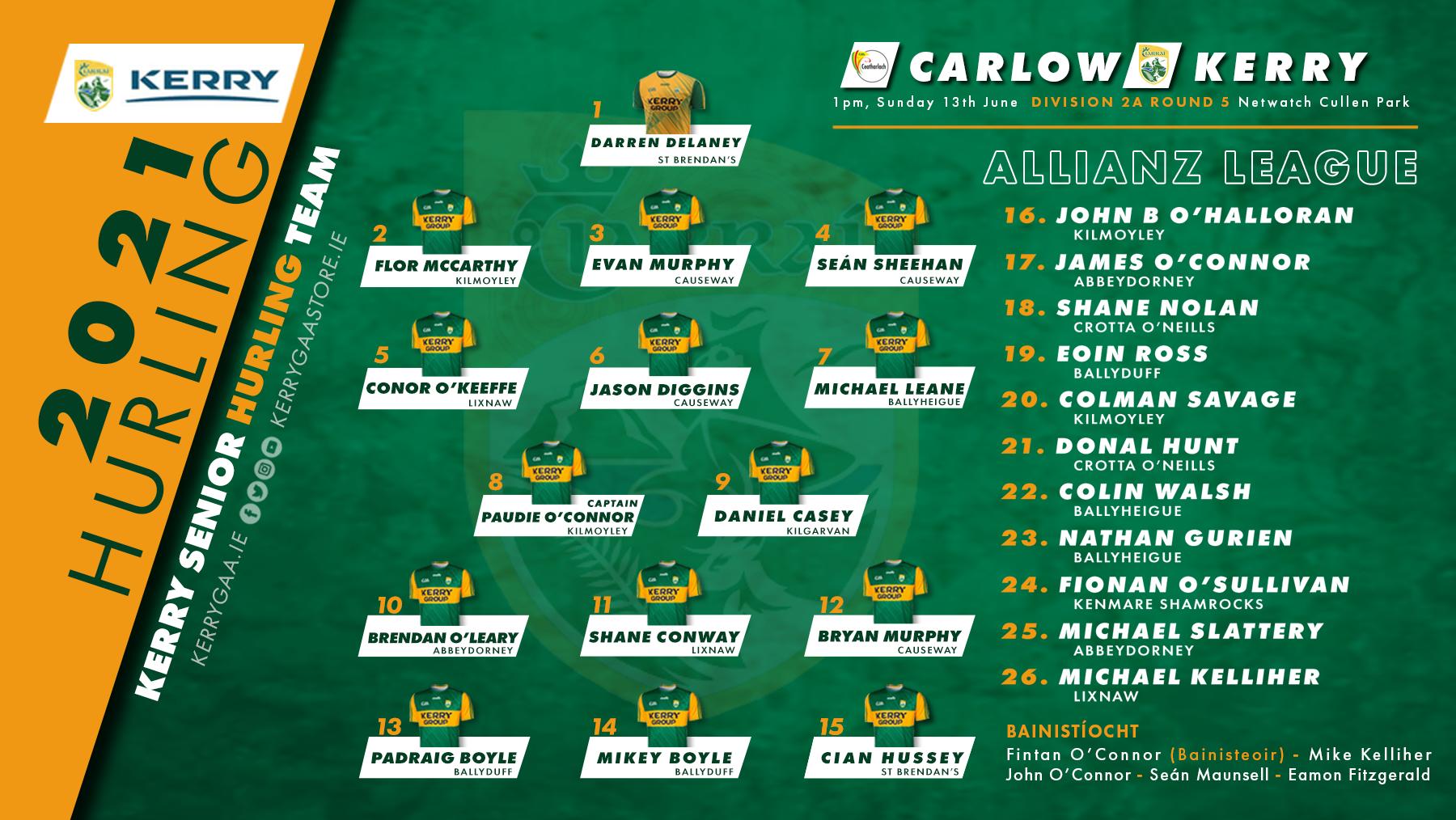 Team Announcement: Kerry vs Carlow, Allianz Hurling League