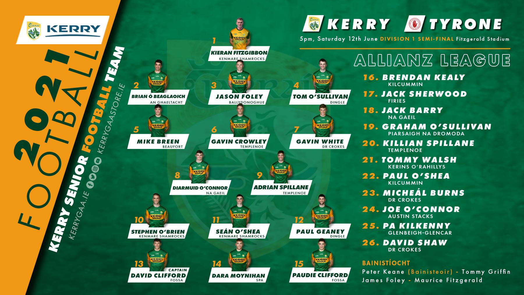 Team Announcement: Kerry vs Tyrone, Allianz Football League