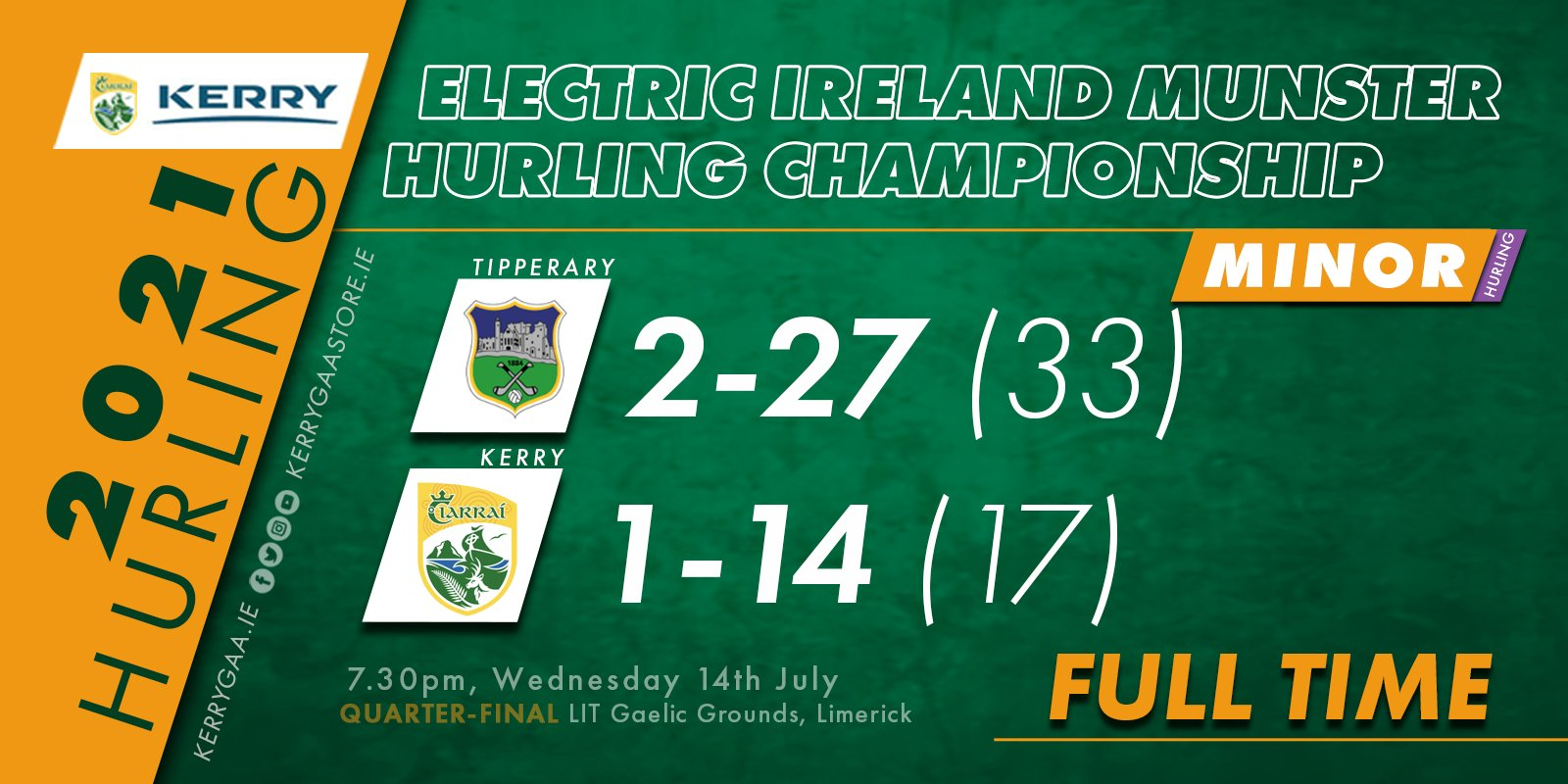 Defeat for Kerry Minors in Munster Quarter-Final