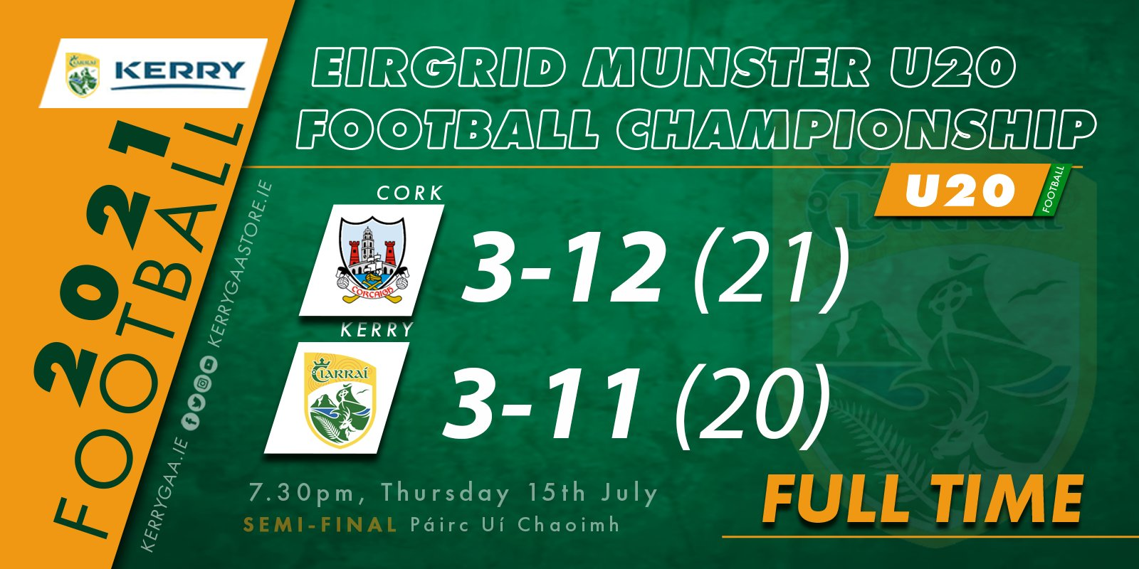 bow out with defeat to Cork in Munster Semi-Final