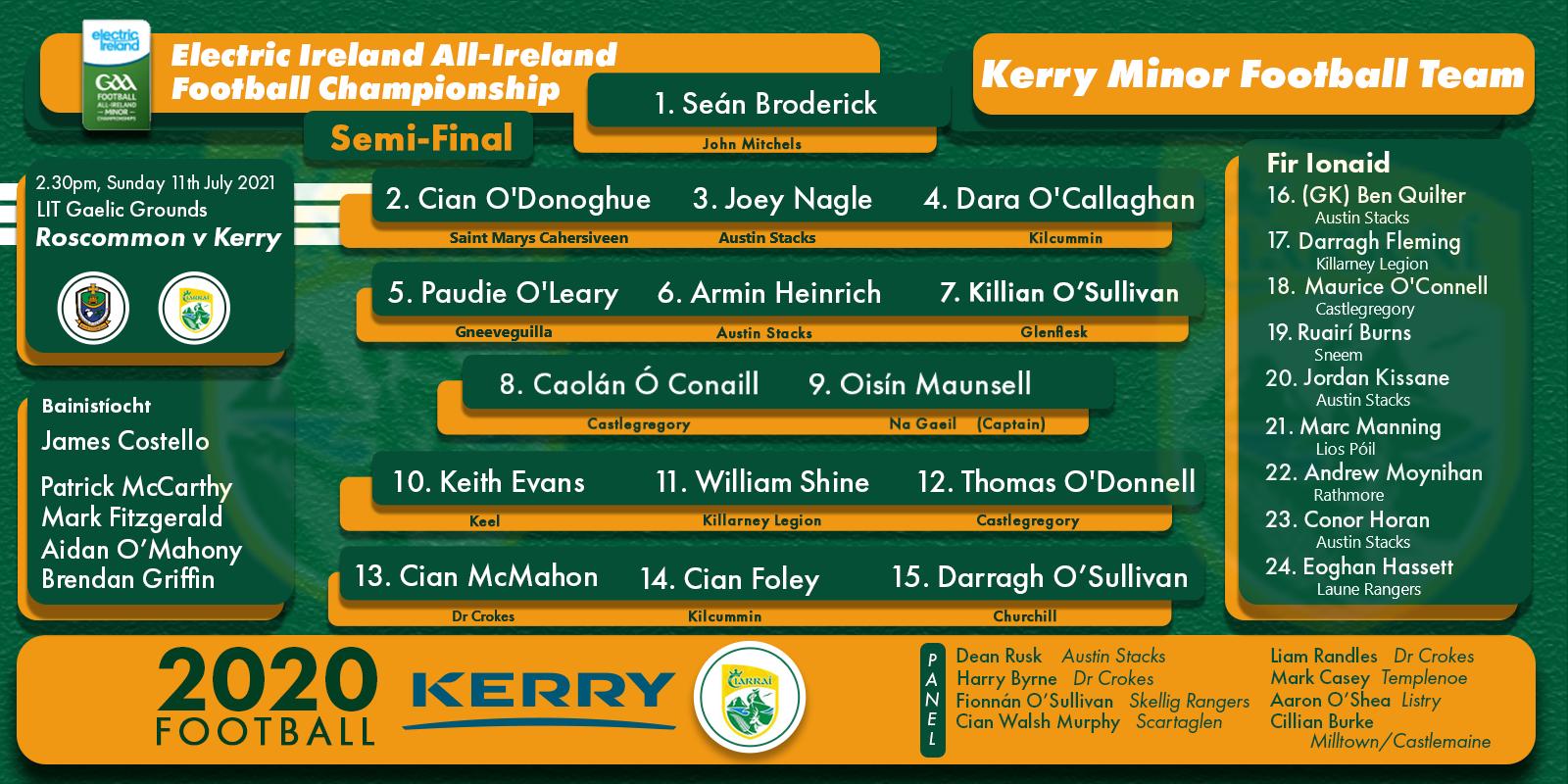 Team Announcement: Kerry Minors vs Roscommon – All Ireland Semi-Final