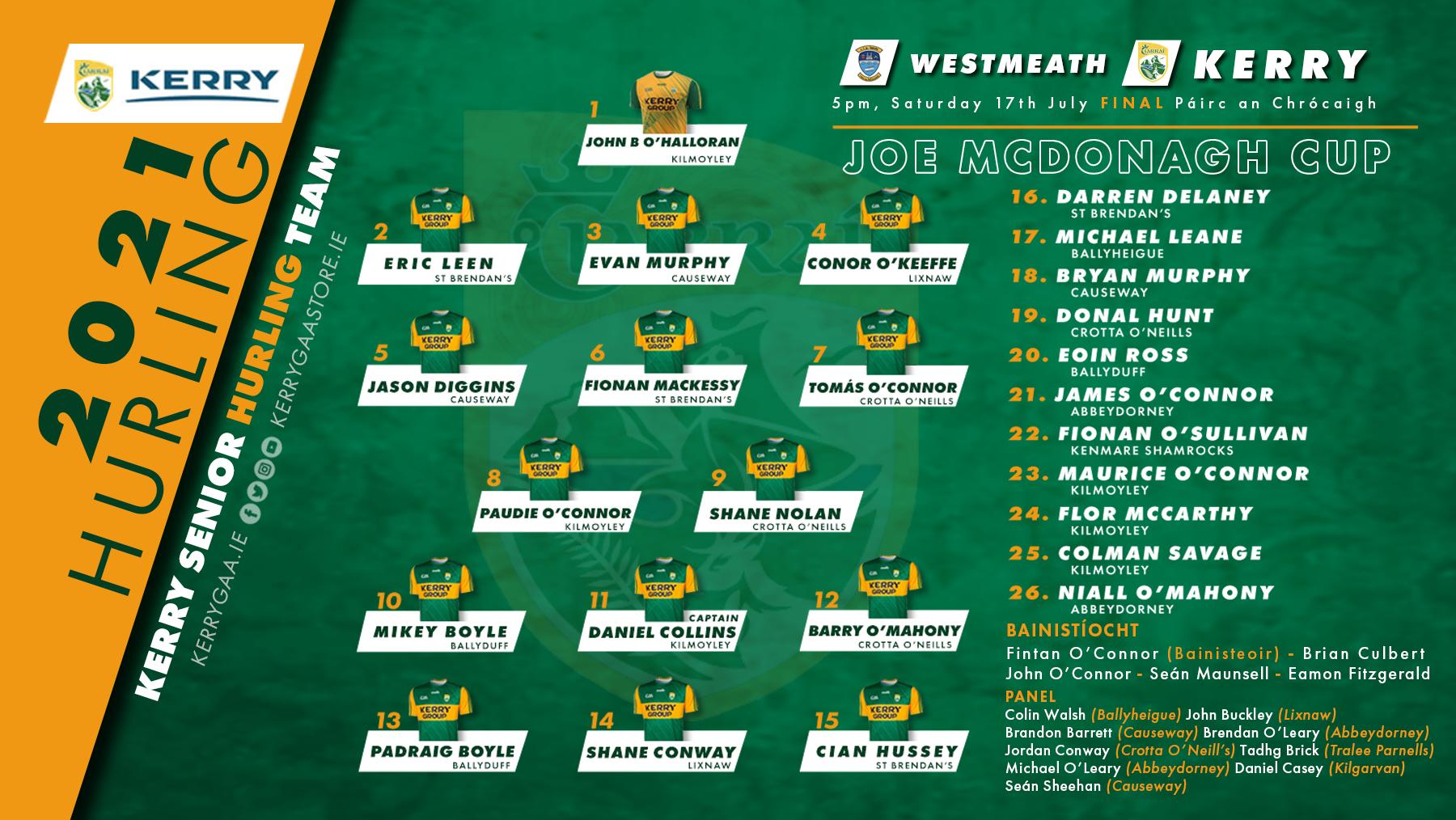 Team Announcement: Kerry vs Westmeath, Joe McDonagh Cup Final