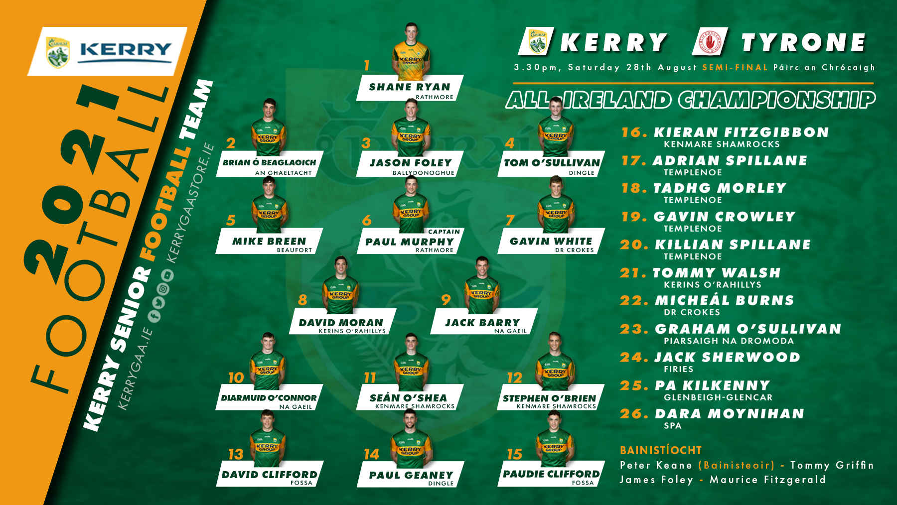 Team Announcement: Kerry V Tyrone, All Ireland Semi Final 2021